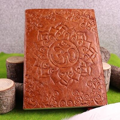 Handmade cotton paper Wicca Pagan Book of Shadows Lotus Om LEATHER JOURNAL