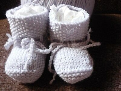 "Grey Baby Booties. ""100% Wool"" Pale Grey. Hand-Knitted by me. Extra soft!"
