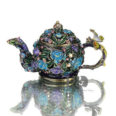 Handmade Crystal Metal Teapot Trinket Boxes Figurines Wedding Mother's Day Gifts