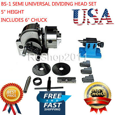 """BS-1 Dividing Head Set w/ 6"""" Chuck & Tailstock for Milling Machine USA FREE SHIP"""