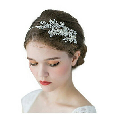 Bridal Headband Wedding Party Hair Band White Rhinestone Pearl Headpiece Tiara