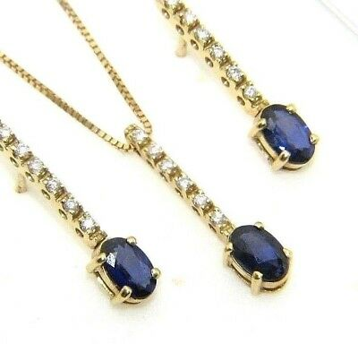 Ladies/womens 18ct gold chain/pendant and earring set with sapphires + diamonds