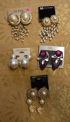 Lot of Vintage earrings 1970s - 1980s clip on 5 pairs