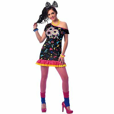 Adult Ladies Retro 80s Boogie Babe Disco Diva Neon Rave Hen Fancy Dress Costume