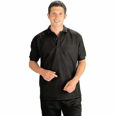 Mens Womens Polo T Shirt Ribbed Cuffs Short Sleeves Black Collar Neckline