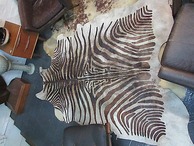 Cow Hide Leather Floor Rug With Printed Zebra Skin Pattern Decorative Art Decor