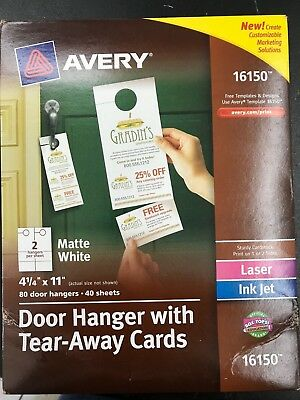 Avery 16150 Door Hanger with Tear-Away Cards Matte White - 4.25 x 11