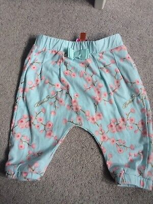 Ted Baker Baby Girls Leggings, size 0-3 months, Blue with Blossom detail