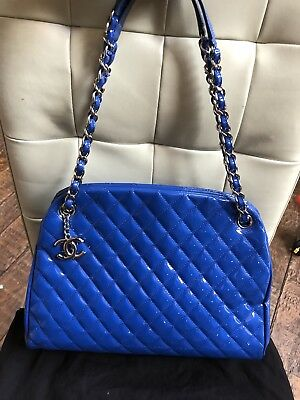 fa490e9ef86b AUTHENTIC CHANEL MADEMOISELLE BAG Patent Leather Blue Royal Rare Tote Large