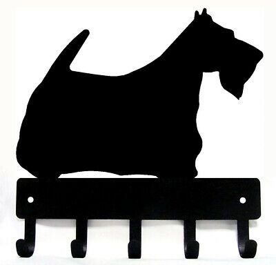 Scottish Terrier Scottie Dog Leash Hanger Metal Key Rack Holder 5 Hooks Sm 6""