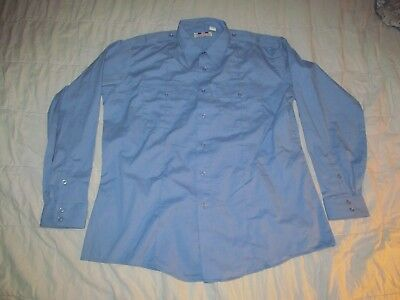 Flying Cross Light Blue quality front button Work shirt Men's sz 17.5 / 36 / 37