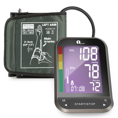 1byone Upper Arm Blood Pressure Monitor with Wide-Range Cuff, Large Backlit LCD