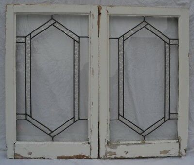 2 joining art deco leaded light stained glass window panels. R736d. DELIVERY!