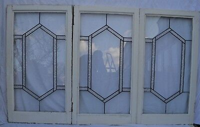 3 art deco leaded light stained glass window panels. R736c. WORLDWIDE DELIVERY