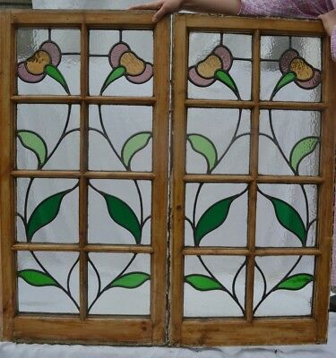 2 British leaded light stained glass window panels. R762. WORLDWIDE DELIVERY!!!