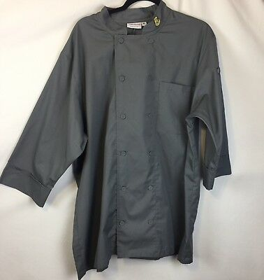 chef works coat Gray Long Sleeve Panera XL Cook Workwear