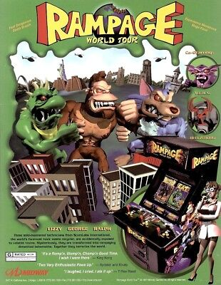 RAMPAGE World Tour 1997 Original NOS Video Arcade Game Flyer Monsters Midway