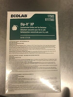 NEW ECOLAB DIP IT XP CONCENTRATED COFFEE TEA STAIN REMOVER DESTAINER 1.75lb BOX