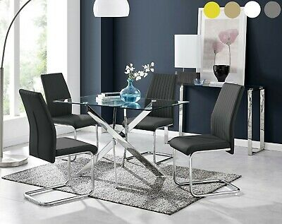 LEONARDO Black White Chrome & Glass Dining Table Set And 4 Leather Dining Chairs