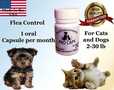 Pro Caps Pro Flea Control Killer Dogs Cats 2-30 lb 6month prevention kills eggs