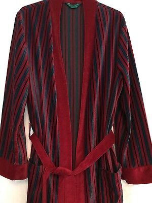 ORIGINAL VINTAGE MENS 1980s DRESSING GOWN ROBE STRIPED