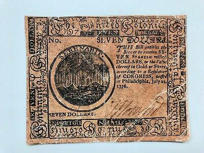 vintage continential currency seven dollars july 22 1776