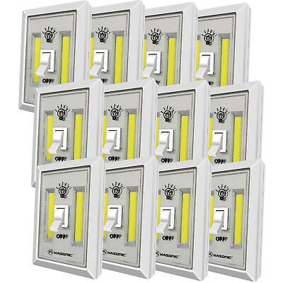 Kasonic Portable 200 Lumen Cordless LED Night Light Switch Set of 12