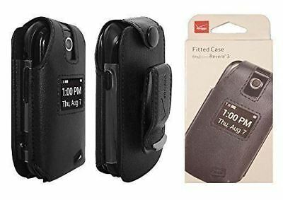 Verizon Leather Pouch Case with Belt Clip Holster For Revere 3 - Black