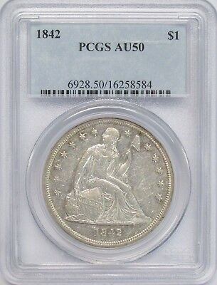 1842 Seated Dollar PCGS AU-50