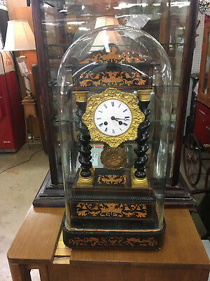 "Antique 1835-50 ""french Empire"" Gilt Inlay ""japy Freres"" Clock Under Glass Dome"