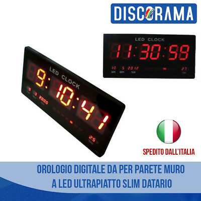 Orologio Digitale Da Per Parete Muro A Led Ultrapiatto Slim Datario