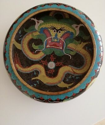 Signed Antique Chinese Cloisonne Bowl Dragon & Flaming Pearl Fire Bowl