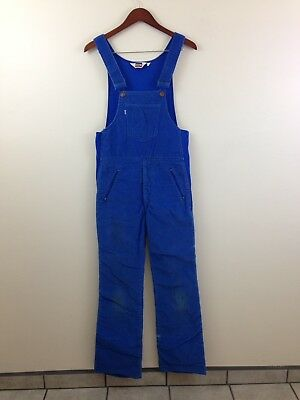 Vintage 70'S Levi's Blue Cord Ski Bib Overalls - Sz Small - Made in USA