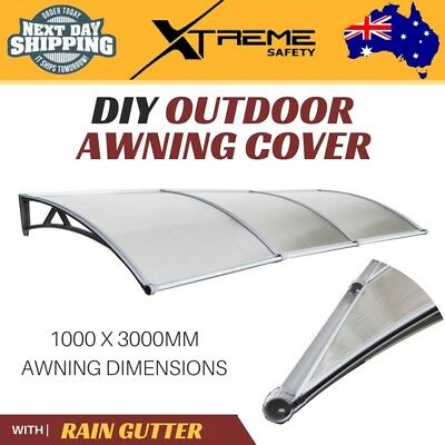 New DIY Outdoor 6mm Awning Cover 1mx3m Deluxe Model Kit with Smart Rain Gutter