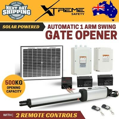 New Solar Powered 1 Automatic Arm Swing Gate Opener with 2 Remote Controls