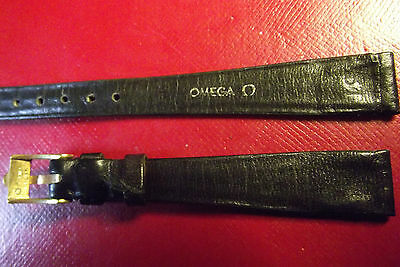 OMEGA - RARE VINTAGE ORIGINAL 12 mm BLACK LEATHER AND BUCKLE - SWISS MADE