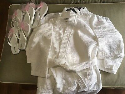 Girl Party Lot of 4 Waffle Weave spa robe with 3 pair of flip flops