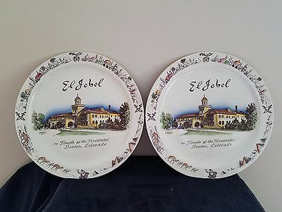 LOT OF 2: 1953 Vernon Kilns El Jebel Temple Plate Denver Colorado Shriners
