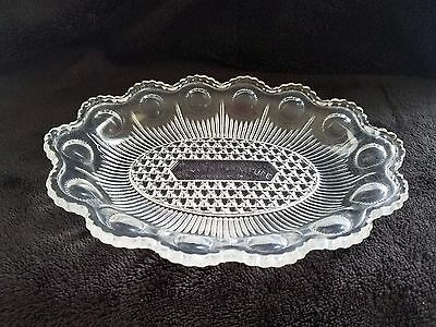 """""""The Denver Furniture & Carpet Co."""" Glass Coin Trinket Advertising Tray Dish"""