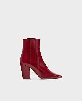 8409aab21f4 BNWT ZARA LEATHER High Heel Ankle Boots s..40 UK 7 US 9 REF.6900 201 ...