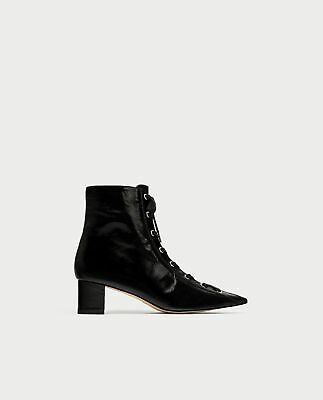 6bfb34a145e BNWT ZARA LACE Up Leather High Heel Ankle Boot REF.6078 201 -  79.99 ...