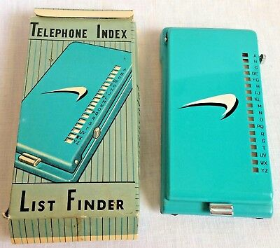 Vintage Continental Telephone Turquoise Metal Clip Index in Original Box