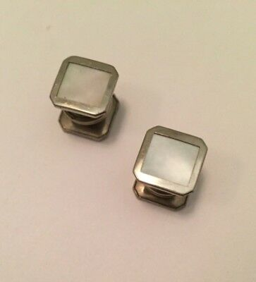 Art Deco Sterling Silver Mother of Pearl Collar Button Stud Cufflinks