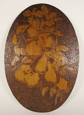 "Vintage PYROGRAPHY Pear Apple Fruit 19"" Wooden Folk Art Plaque"