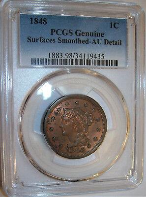 Lot of One PCGS-Certified, AU, 1848 Braided Hair Large Cent