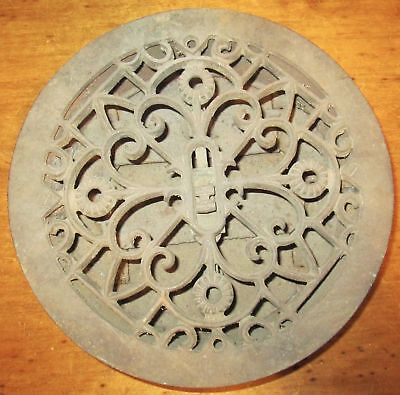 Antique Vintage Cast Iron Round Louvered Floor or Wall Heat Vent Grate Register