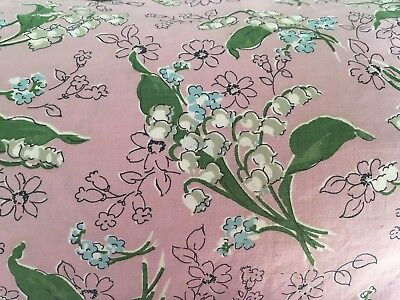 Moprimitivepast 1930s Antique Vintage Feedsack Lily Of Vally Flowers Dusty Pink