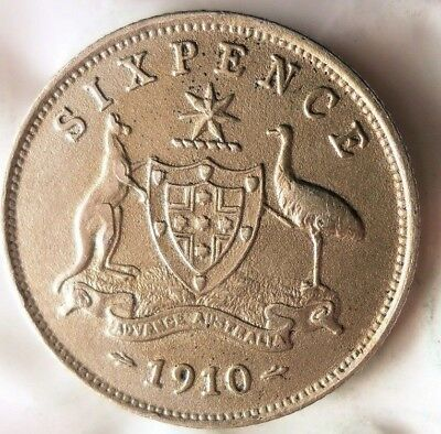 1910 AUSTRALIA 6 PENCE - ONE YEAR TYPE - High Quality/Value Coin - Lot #A13