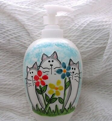Cats & Flowers Pottery Lotion Bottle / Soap Dispenser Handmade Grace M. Smith