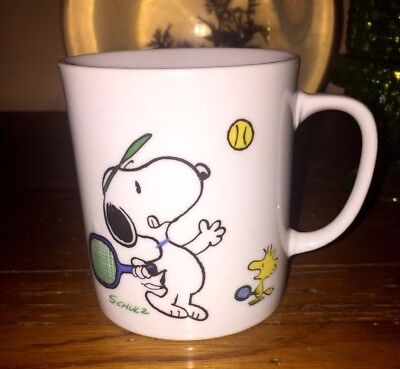 Vintage Snoopy Tennis Coffe Mug United Feature Syndicate Another Determined Prod